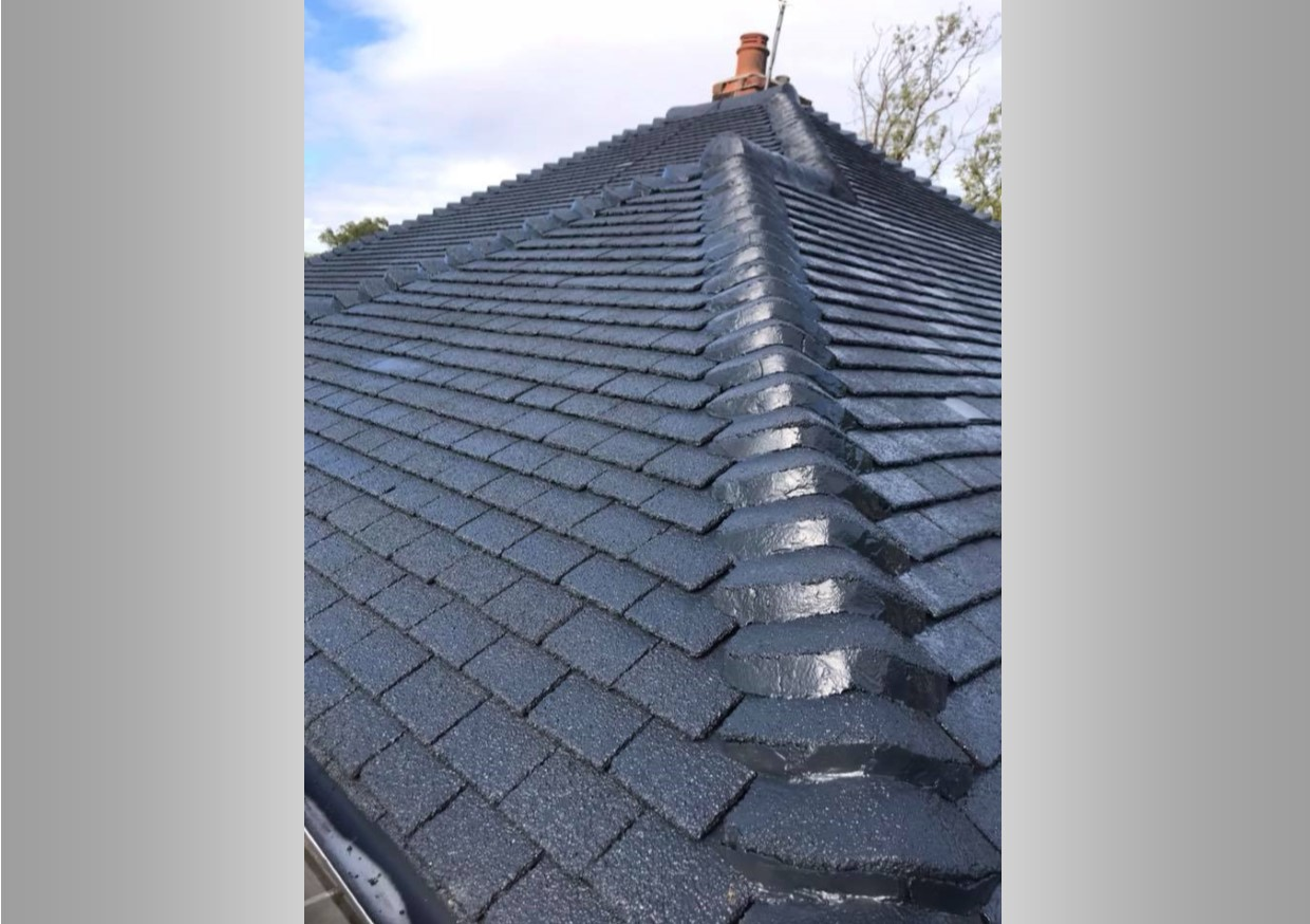 A picture of a roof that has been restored and completely transformed